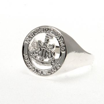 Newcastle United Silver Plated Crest Ring Medium